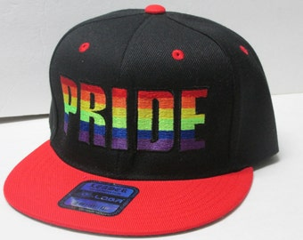 LGBT PRIDE Embroidered Black/Red flat bill Snap-Back
