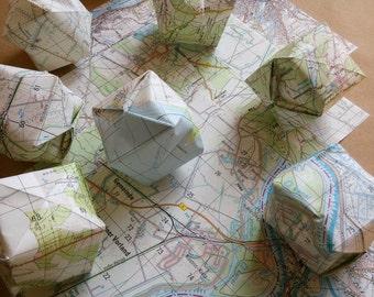 Bastelset Lichterkette vintage Landkarte  Origami