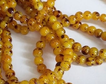 100pcs - Orange & Brown Mottled Glass Beads 4mm Jewelry Making Supplies - B18248