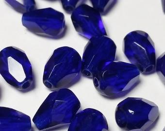 15pcs Cobalt Blue Czech Glass Beads - Teardrop Beads - Fire Polished Beads - 7x5mm - Faceted Beads - Small Beads - BB43