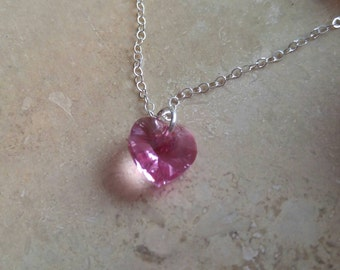 Swarovski Crystal Heart Sterling Silver or 14K Gold Filled Necklace NBJ367