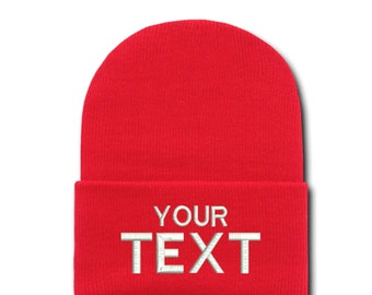 Red Custom Embroidered Cuffed Beanie, Your Own Personalized Hat Custom Embroidery on a Beanie, Choose Your Text