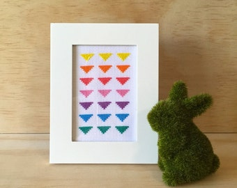 Rainbow Triangle Cross Stitch (Framed)