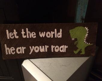 Bedroom decor for boys, Dinosaur room decor,dinosaur wall art, let the world hear your roar, boys room decor