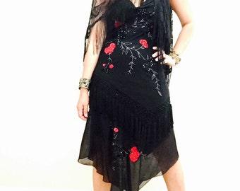 Gipsy Boho Asymmetrical Black Dress / Embroidered Black dress / Night out Dress / Boho Fringed Dress / Size 6