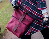 Backpack leather women's,  BURGUNDY, Leather BackPack - Rucksack, Backpack Laptop , Hipster Backpack, rucksack -purse
