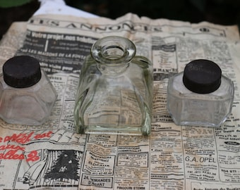 French Vintage ink bottles x 3. Waterman ink bottle. French Vintage Shabby Chic.