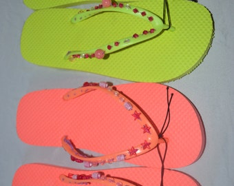 Two Pairs Of Women's Beaded Flip Flops Size 9-10