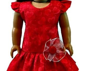 "American Girl Valentine's Day drop waist dress. Valentine dress fits American Girl and similar 18"" dolls."