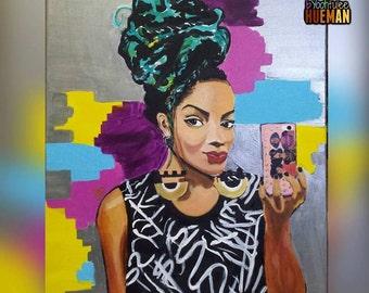 SALE! Afro Latina Flava- Original Acrylic Painting 24x36