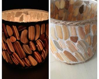 Seashell Luminary Votive Tea Light Candle Holder Sea Shell Pieces Handmade Nautical Beach Decor
