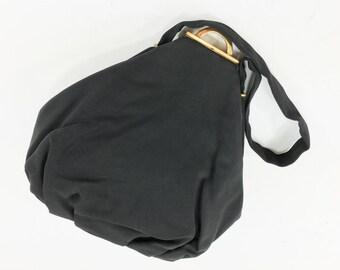 40s Black Faille Handbag | Matching Coin Purse and Mirror