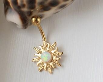 Opal Sun Belly Button Ring.