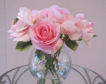 Wedding Party Decor Elegant Beautiful silk flower-arrangement pink rose and pink hydrangea in glass vase with faux water
