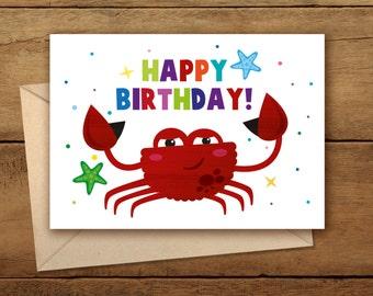 Happy Birthday Card\Crab Birthday Card\Woodland Happy Birthday Card\Birthday Party\Woodland Art\Kid's  Birthday\Greetings Envelope\Ocean Art