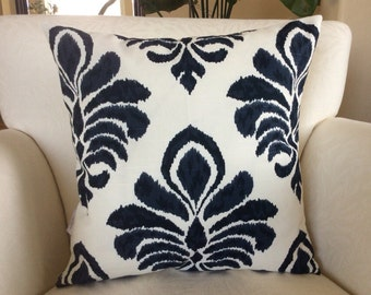 Blue Pillow Cover,Indigo Pillow, Damask Pillow, Elan Damask,Decorative Pillow, Toss Pillow, Accent Pillow, Cushion