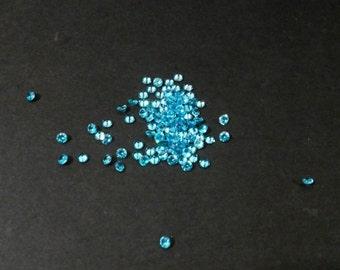 30 Aqua Blue, Round, 2mm Cubic Zirconia Loose Stones