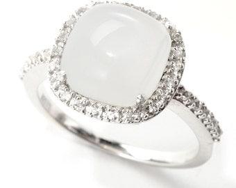 Sterling Silver 10mm Moonstone & White Topaz Halo Ring