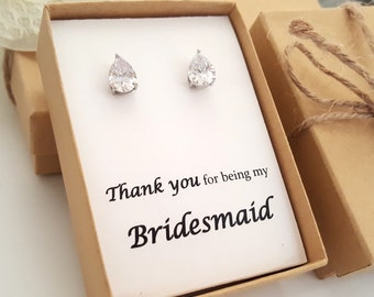 Bridesmaid Gifts- AAA Cubic Zirconia Wedding Teardrop Earrings,  bridesmaid Jewelry Box