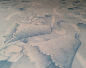 Vintage Wedding Gift Wrap, Wedding Bells Wrapping Paper, Light Blue, Doves, Wedding Cake, 2 Sheets