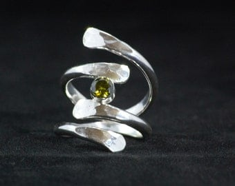 Sterling silver Double wrap around ring with central cubic zirconia