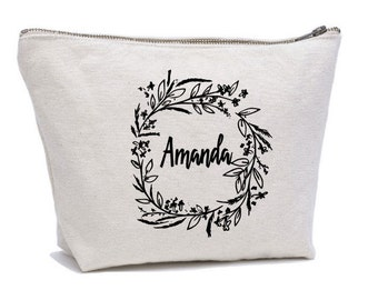Personalized Cosmetic Bag , Bridesmaid Cosmetic Pouch , Cosmetic Bag , Bridesmaid Gift , MakeUp Bag , Floral , Custom Name Pouch