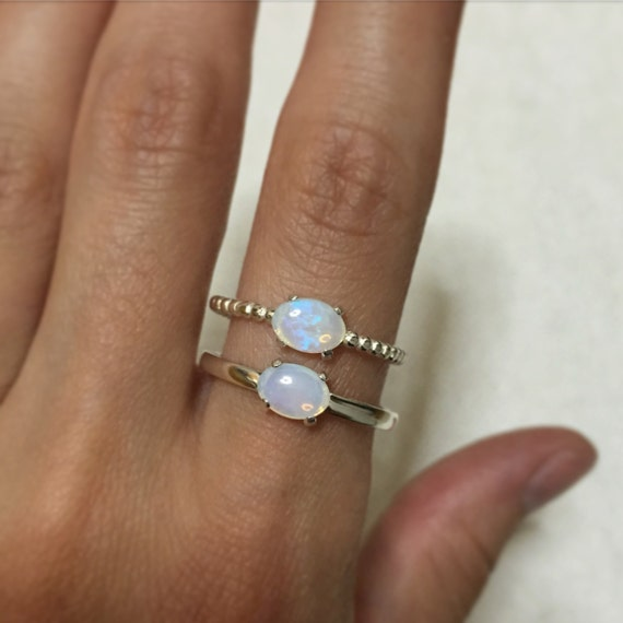 Sterling silver rings with Coober Pedy crystal blue or Australian opals