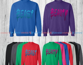Beast & Beauty - Matching Couple Sweatshirt - His and Her Sweatshirts - Love Sweaters
