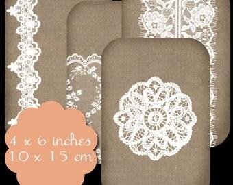 9 Burlap & Lace Tags Set 2