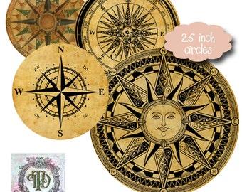 8 Vintage Compass Circles