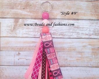 Breast cancer kisses cancer awareness fabric tassle ribbon keychain fob