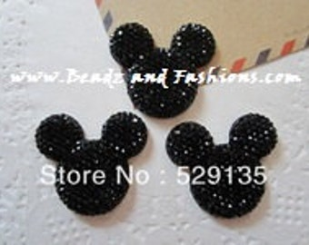 2pc black mickey Mouse 25mm resin cabochon flatback