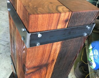 Industrial nightstand.  End table.  Beam end table. Steel and wood end table. Industrial end table. Nightstand. Side table. Rustic end table