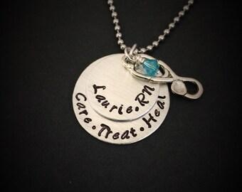 personalized nurse necklace, nurse necklace, hand stamped jewelry, rn jewelry, rn necklace, nurse jewelry, nurse, nursing student