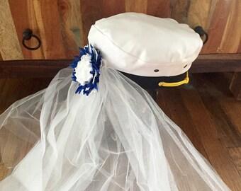 Nautical-wedding-bridal-captain hat-bride-hat-bride hat with veil-bachelorette-blue- bridesmaid