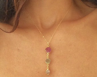 Flourite Necklace // Flourite Gold Necklace // Drop Necklace //