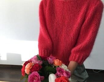 Raspberry Red Sweater in kid silk mohair