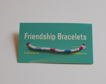 SMS4 White/Red/Blue Friendship Bracelet