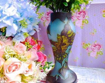 Galle Reproduction cameo art glass vase / Blue cameo glass vase / flower cameo glass vase / Galle Reproduction vase
