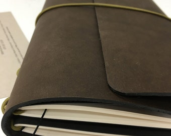 All Sizes Walnut Trifold Fillion Leather Refillable Journal for Moleskine, Field Notes, B6, Personal Custom made by Little Mountain Bindery