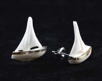 "Hand Carved - ""Sail Boat"" - Bone with Abalone Inlay Stud Earring - Marina Bay"