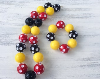 Red Yellow and Black Bubblegum Necklace, Girl Toddler Necklace, Chunky Bubblegum Necklace, Baby Photo Prop, Polka Dot Necklace