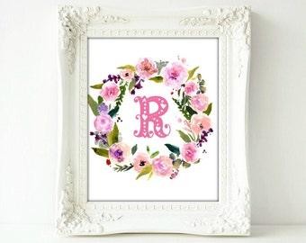 Floral Monogram, Letter R Pink Printable, Nursery, Baby, Girls room