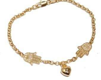 Hamsa Hand with Heart Charm 18k Gold Plated Bracelet - Fatimas Hand Bracelet