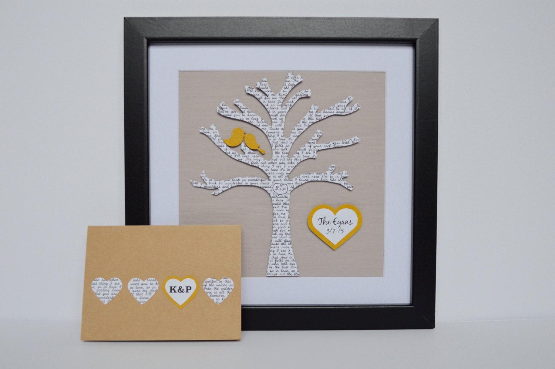 Paper Art Wedding Gift : Paper Anniversary Gift Lyric Tree Song Lyric Art Wedding