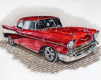 57 Chevy Bel-Air Print