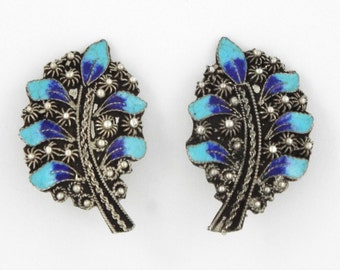 EARRINGS 1930s Rare ANTIQUE Vintage Blue Enamel ETRUSCAN Sterling 950 Non Pierced Free Shipping