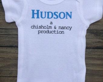 Newborn Baby Onesie, Custom Personalized Production Baby Onesie
