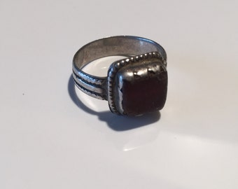 Antique Silver Ring-glass ring-Sterling silver/Vintage/Ethnic/ethnic hippy gypsy/jewellery shop/gem stone shopNJR0114