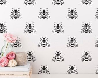 Bee Wall Decals - Honey Bee Wall Decal Set, Vinyl Wall Decals, Bumble Bee Wall Stickers, Nursery Decals, Unique Decor for Gifts and More!